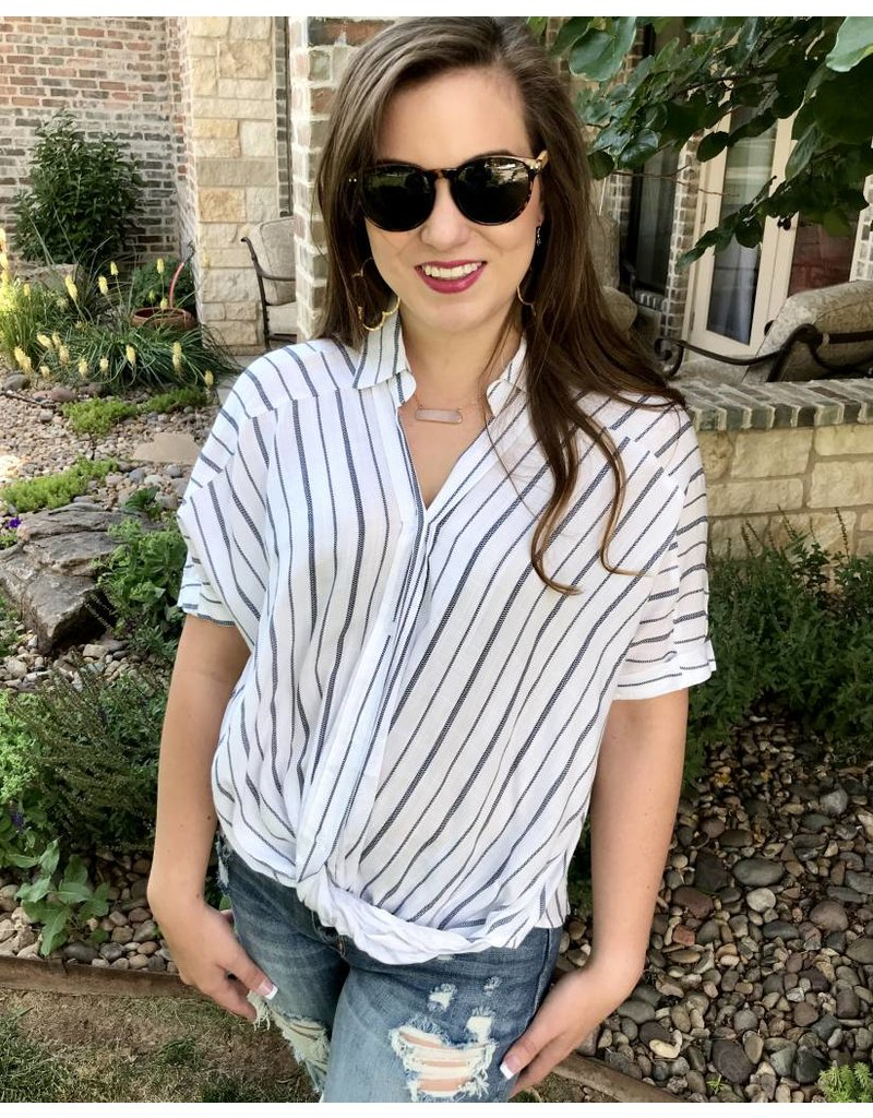 Navy Striped Button Up Twisted Front Top