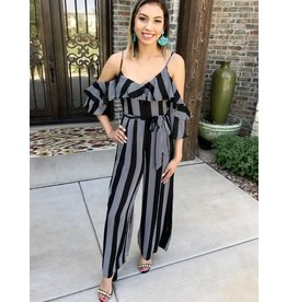 Black Striped Cold Shoulder Jumpsuit