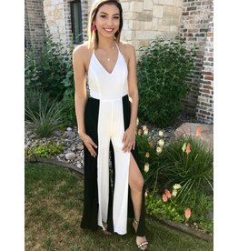 Black and White Halter Neck Jumpsuit with Slit