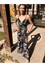 Black Floral Crossover Cut Jumpsuit with Self Tie