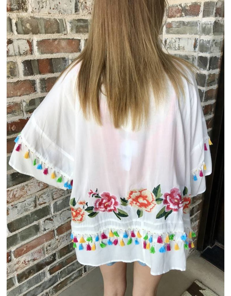 Lillie's White Floral & Tassel Mix Open Front Kimono
