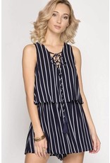 Navy Striped Lace Up Romper