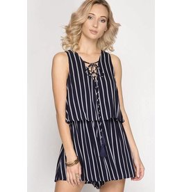Navy Striped Lace Up Romper- SALE ITEM