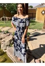 Lillie's Navy / White Detailed Long Dress