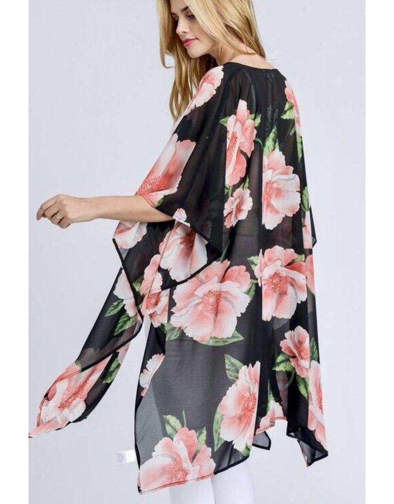 Black Big Pink Floral Kimono