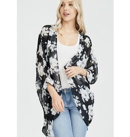 Black w/ White Blue Tinted Floral