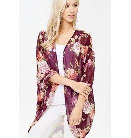 Plum Mixed Floral Kimono