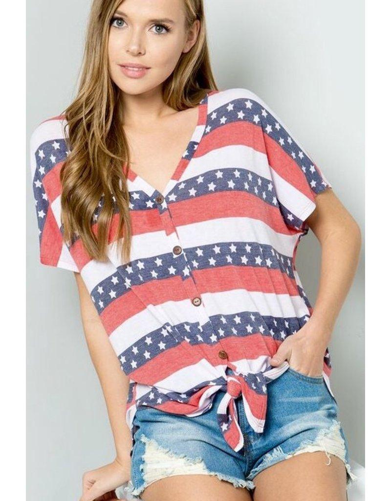 Red/Denim American Flag Button Down Tie Top