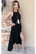 Black Hi-Lo Maxi Romper with Cinched Waist