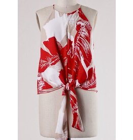 Red Leaf Abstract Tie Tank Top