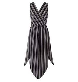 Black/White Striped Crossover Cut Jumpsuit