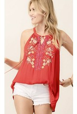 Tomato Red Multi - Colored Embroidered Top- SALE ITEM