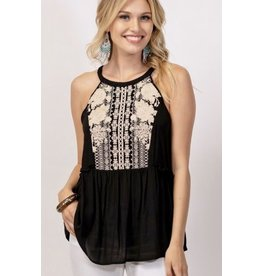 Black W / Ivory Embroidered Sleeveless Babydoll Top