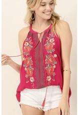 Fuchsia Multi - Colored Embroidery Sleeveless Top