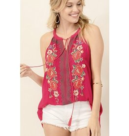 Fuchsia Multi - Colored Embroidery Sleeveless Top- SALE ITEM