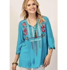 Turquoise Embroidered Top with Scallop Sleeve