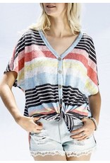 Yellow Multi Striped Button Up Top