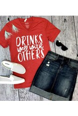 """Heather Red """"Drinks Well With Others"""" T-Shirt"""
