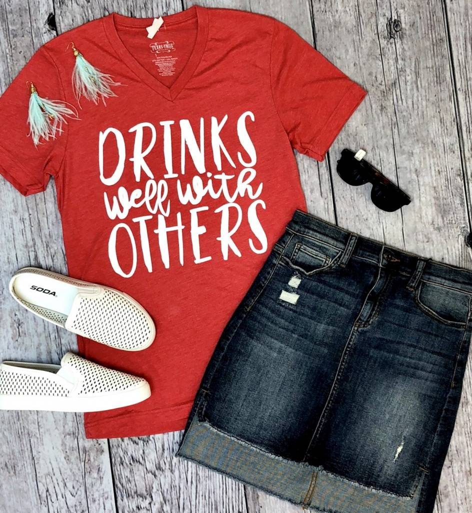 "Heather Red ""Drinks Well With Others"" T-Shirt"
