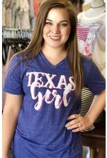 Navy Marble Texas Girl V-Neck T-Shirt
