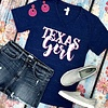 Navy Marble Texas Girl V-Neck T-Shirt