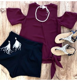 Burgundy Light-Weight Deep-V Self Tie Cold Shoulder Top- SALE ITEM
