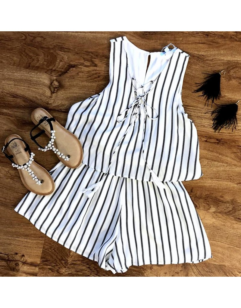 White Striped Lace Up Romper