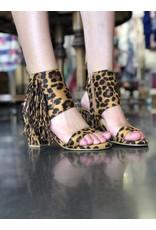 Leopard Fringe Peep Toe Bootie