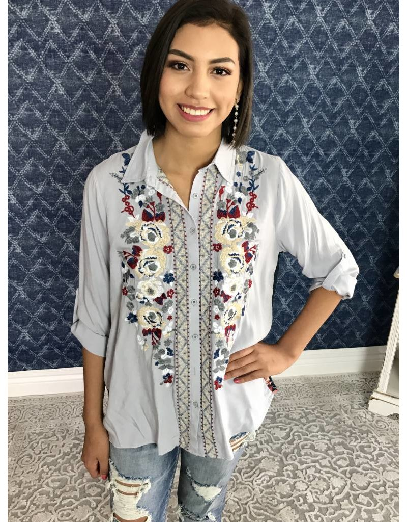 Light Blue Embroidered Button Down Top