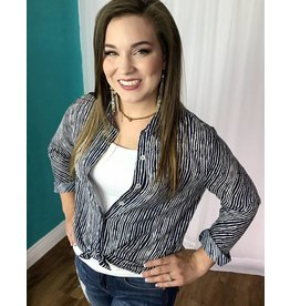 Navy and White Vertical Print Button Up Top