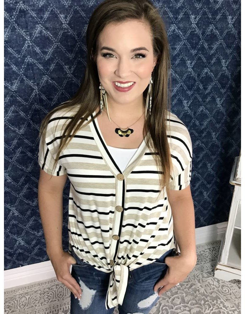 Oatmeal Striped Button Up Tie Top