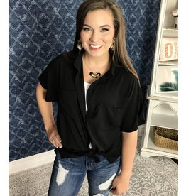 Black Collared Button Up Top With Pocket Detail