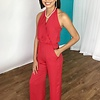Red Halter Crossover Neck Jumpsuit
