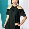 Black Cold Shoulder Dress with Keyhole Back- SALE ITEM