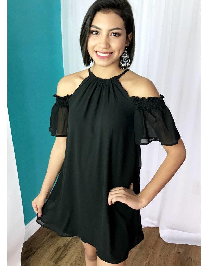 Black Cold Shoulder Dress with Keyhole Back