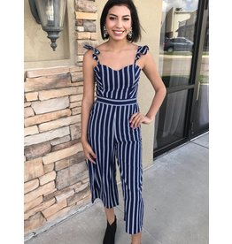 Navy Striped Jumpsuit with Ruffled Shoulder Strap