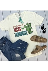 """Cream """"Tacos and Turquoise"""" V-Neck T-Shirt"""