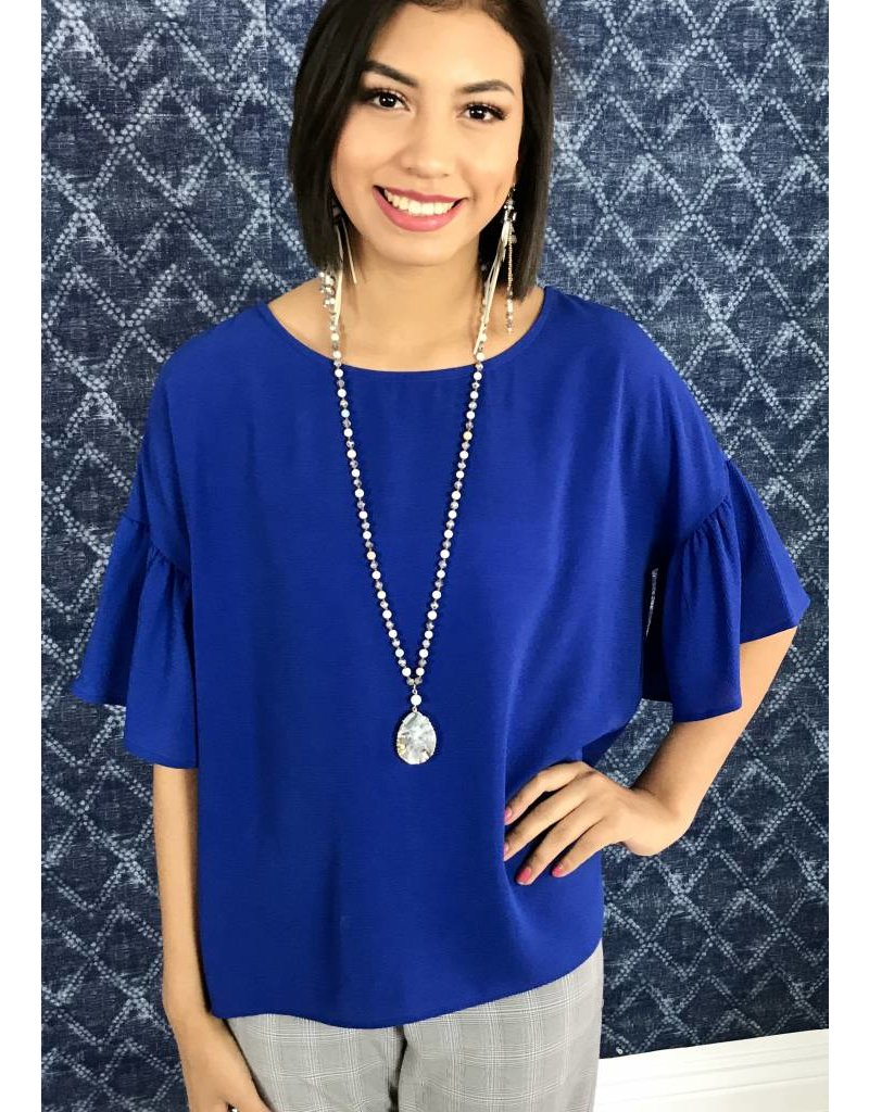 Cobalt Blue Ruffled Sleeve High - Low Top