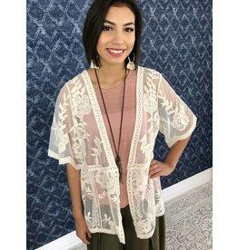 Cream Lace Short Kimono