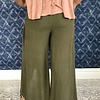 Olive High Rise Pant with Front Leg Slit- SALE ITEM