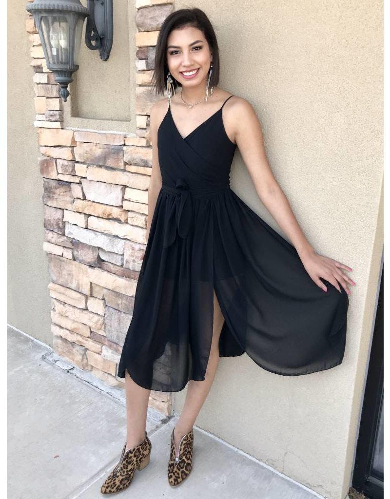 Solid Black Spaghetti Strap Skirt Romper