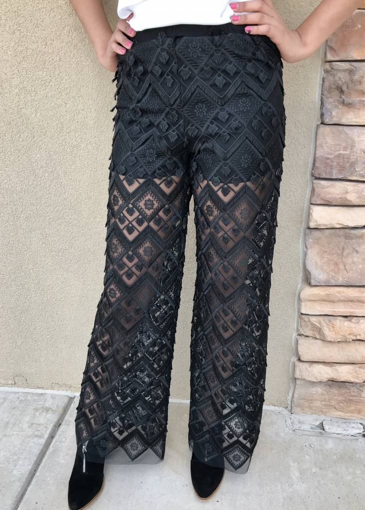 Black Crochet Sheer Pants