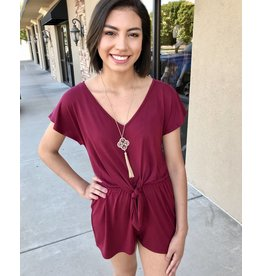 Maroon V-Neck Romper with Waist Knot Tie