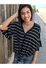 Black Striped Button Down Ruffled Sleeve w/ Front Tie Top