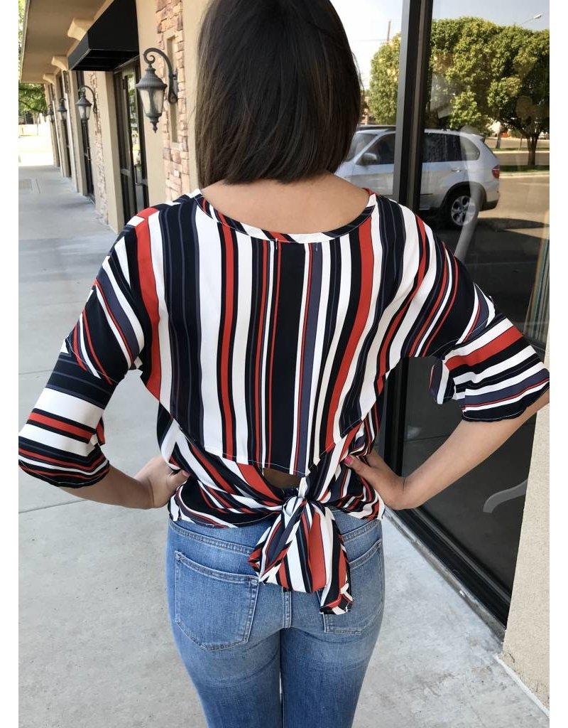 Black/Grey/Red/Ivory Striped Back Tie Top- SALE ITEM