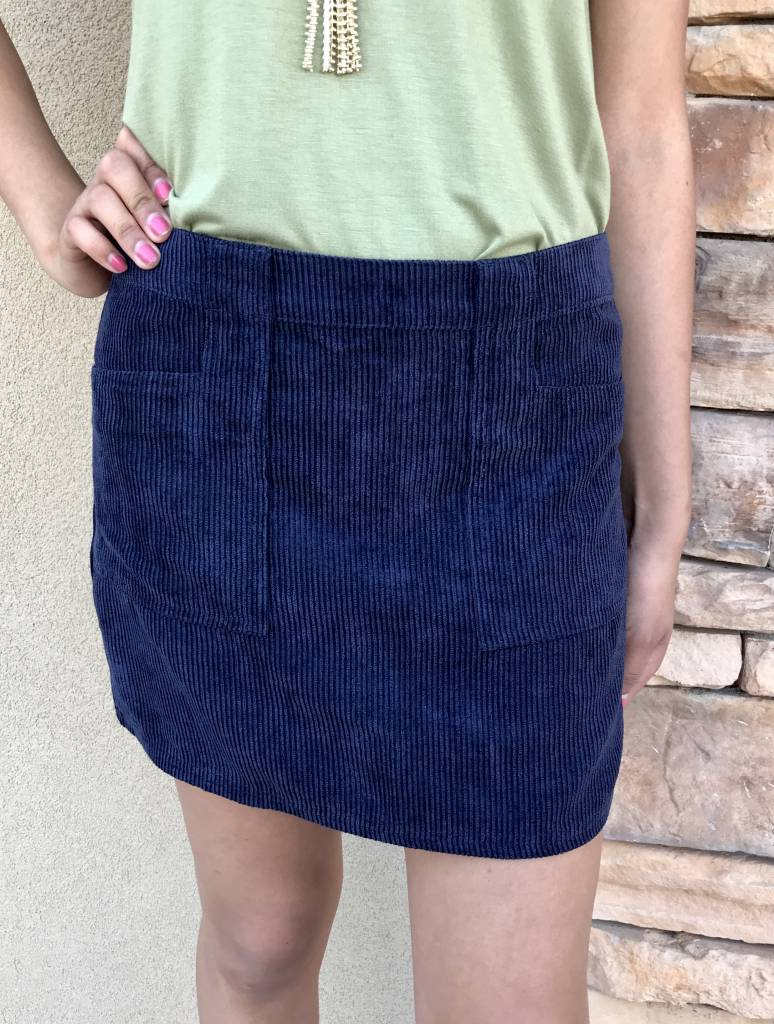 Navy Corduroy Mini Skirt with Front Pockets