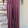 Burgundy High Rise Striped Pant