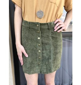 Olive Button Corduroy Mini Skirt