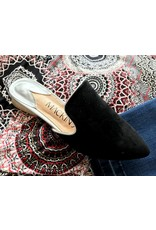 Black Casual Pointy Flat Mule Loafer