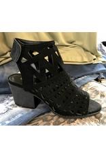 Black Cutout Block Heel Sandal